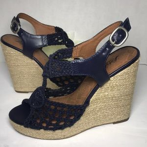 🍀 LUCKY BRAND Blue Crochet Wedges